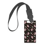 Pink Roses on Dark background Small Luggage Tag
