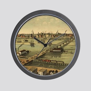 Vintage Pictorial Map of Toledo Ohio (1 Wall Clock