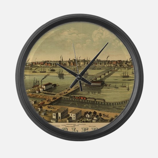 Vintage Pictorial Map of Toledo O Large Wall Clock