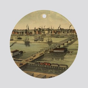 Vintage Pictorial Map of Toledo Ohi Round Ornament
