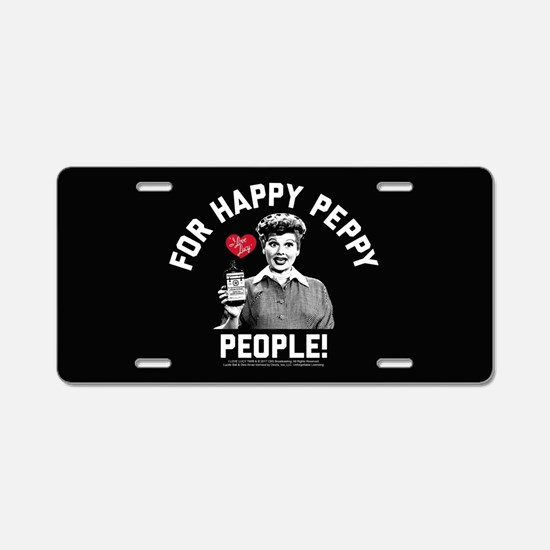Lucy Happy Peppy People Aluminum License Plate