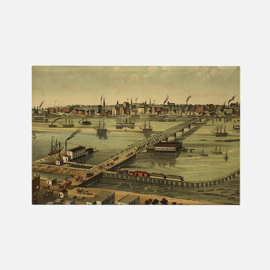 Vintage Pictorial Map of Toledo Ohio (1876 Magnets