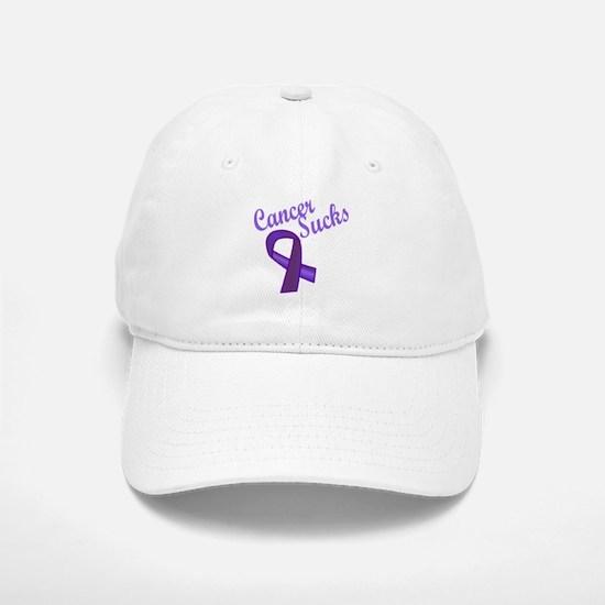 Cancer Sucks Purple Ribbon Baseball Baseball Cap