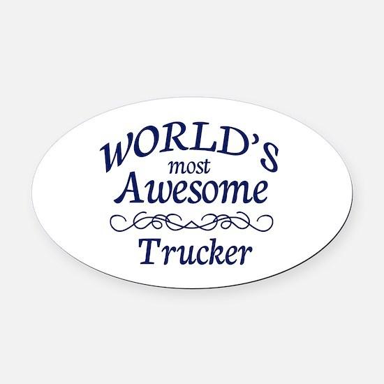 Trucker Oval Car Magnet
