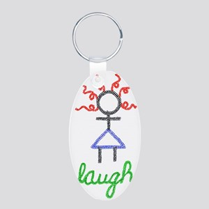 Laugh Aluminum Oval Keychain