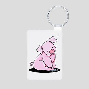 Pretty Little Piggy Aluminum Photo Keychain