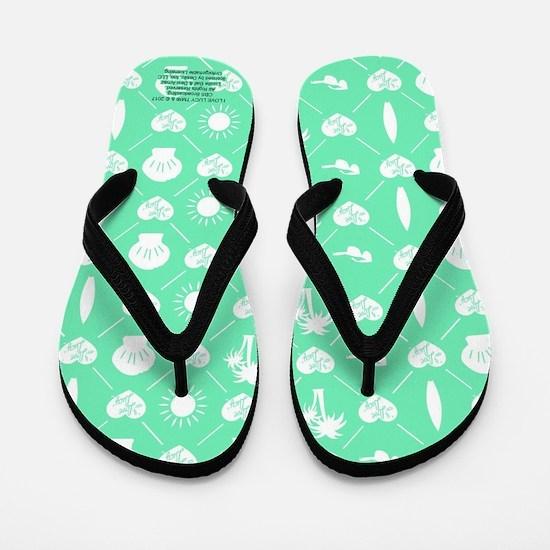 I Love Lucy Teal Pattern Flip Flops