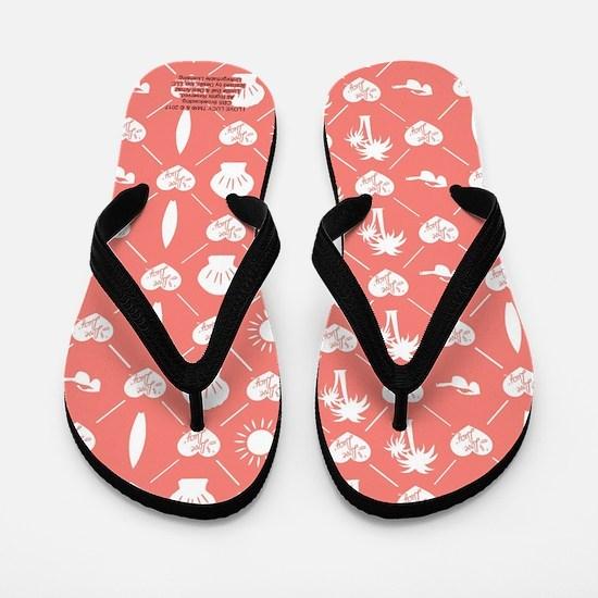 I Love Lucy Pink Pattern Flip Flops
