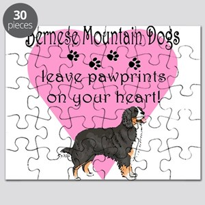 bernese mountain dogs pawprints darks Puzzle
