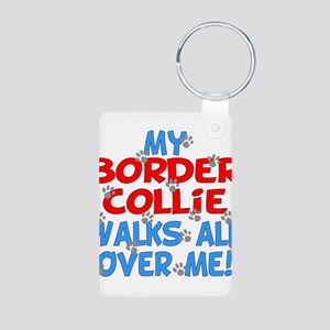 border collie walks Aluminum Photo Keychain