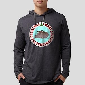 Hippo for Christmas Mens Hooded Shirt