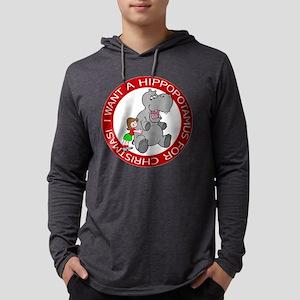 FIN-hippo-christmas-girl Mens Hooded Shirt