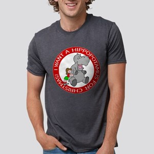 FIN-hippo-christmas-girl Mens Tri-blend T-Shir