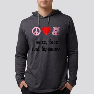 2-FIN-peace-love-hipponess-NEW Mens Hooded Shi
