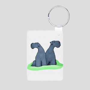 Kerry Blue Terrier Pair Aluminum Photo Keychain