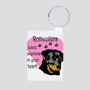 rottweilers paw prints Aluminum Photo Keychain