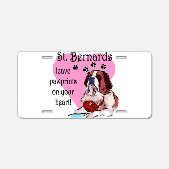 St. Bernards pawprints.png Aluminum License Plate