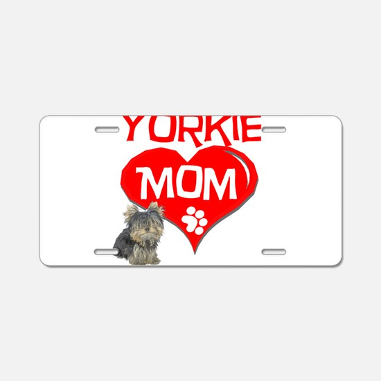 yorkie mom.png Aluminum License Plate