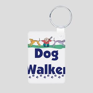 dog walker-3 Aluminum Photo Keychain
