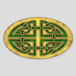 Celtic Knotwork (Green) Oval Sticker