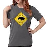 crossing-sign-bison Womens Comfort Colors Shir