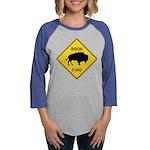 crossing-sign-bison Womens Baseball Tee