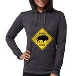crossing-sign-bison Womens Hooded Shirt