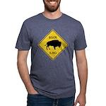 crossing-sign-bison Mens Tri-blend T-Shirt
