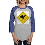 Camel Crossing Sign Womens Baseball Tee