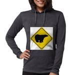 bear-crossing-sign-... Womens Hooded Shirt