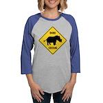 Rhino Crossing Sign Womens Baseball Tee
