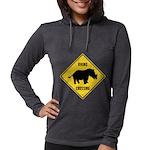 Rhino Crossing Sign Womens Hooded Shirt