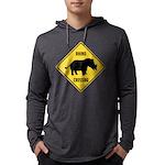 Rhino Crossing Sign Mens Hooded Shirt