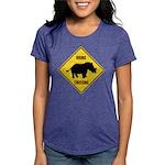 Rhino Crossing Sign Womens Tri-blend T-Shirt