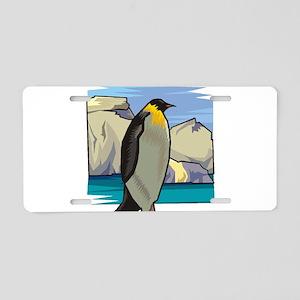 penguin1 black Aluminum License Plate