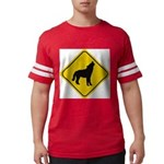 wolf-crossing-sign.... Mens Football Shirt