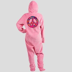 peace pink multi2 black Footed Pajamas