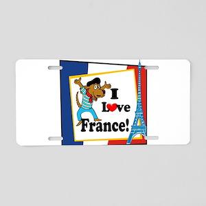 I love france2 black Aluminum License Plate
