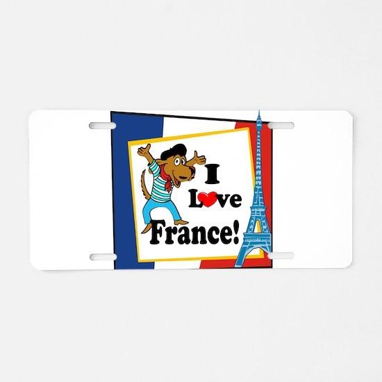 I love france2 black.png Aluminum License Plate