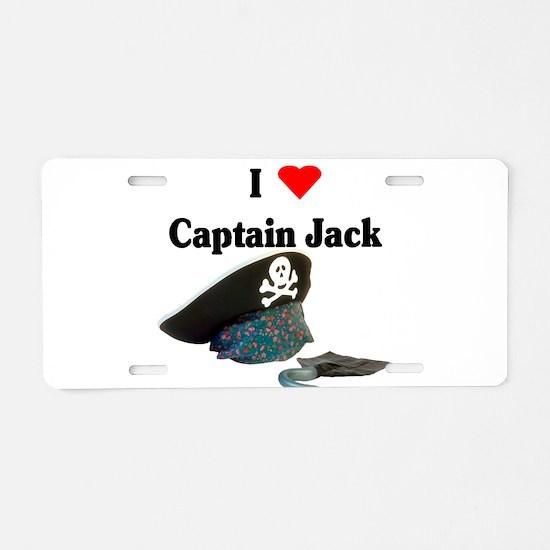 I heart captain jack.png Aluminum License Plate
