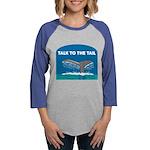 FIN-whale-talk-tail Womens Baseball Tee