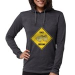 crossing-sign-chick Womens Hooded Shirt