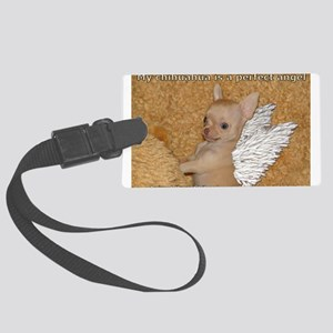 Chihuahua angel Large Luggage Tag