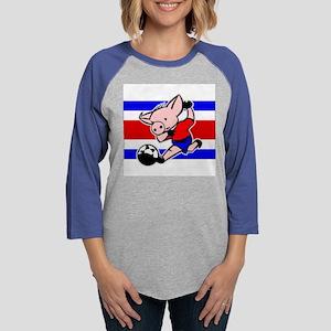 costa-rica-soccer-pig Womens Baseball Tee