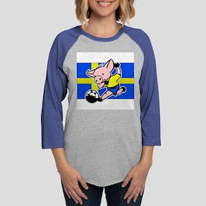 sweden-soccer-pig Womens Baseball Tee