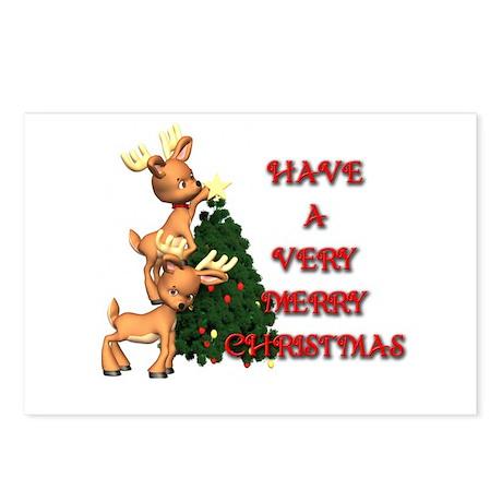 Reindeer Christmas Postcards (Package of 8)