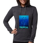 tropical-fish-CROP-text Womens Hooded Shirt