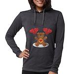 FIN-teddy-bear-hearts Womens Hooded Shirt