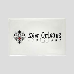 New Orleans Fleur Heart Rectangle Magnet