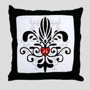New Orleans Fleur Heart Throw Pillow